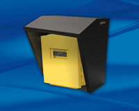 Yellow meter box with black metal protective shield