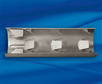Metal insertion tube with directional tabs - cutaway view
