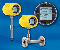 Yellow FCI ST100 meter series; insertion, inline, display face detail