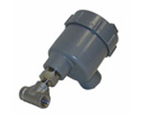 Gray enclosure flow meter with tube tee