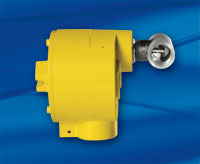 FCI Model FLT93 with yellow enclosure and stainless steel tube tee flow element
