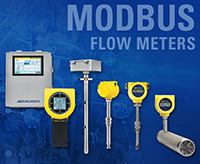 FCI flow meters over industrial connection collage; MODBUS