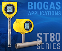 FCI's Model ST80 Series flow meters - insertion and inline for biogas applications