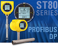 FCI's ST80 Series flow meters with signature yellow FCI enclosure; ST80, ST80L and display closeup over a pipeline background; ST80 Series; PROFIBUS DP
